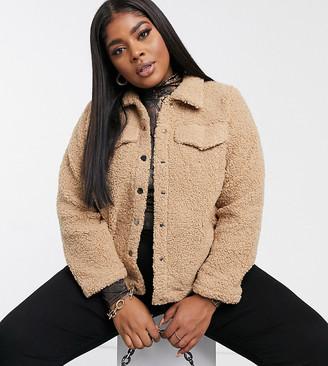 Vero Moda Curve teddy borg jacket in tan