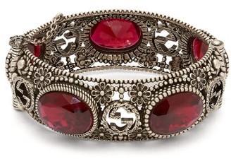 Gucci Crystal-embellished Bracelet - Womens - Red