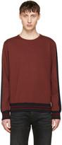 Giuliano Fujiwara Burgundy Striped Sleeve Sweatshirt