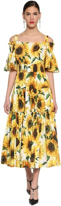 Dolce & Gabbana Long Printed Cotton Poplin Dress