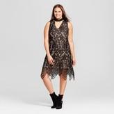 Xhilaration Women's Plus Size Mock Neck Cutout Lace Dress Black