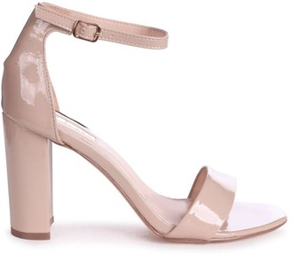 Linzi DAZE - Nude Patent Barely There Block High Heel