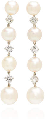 Nina Runsdorf One-Of-A-Kind Pearl and Diamond Drop Earrings