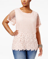 INC International Concepts Plus Sized Crocheted Top, Only at Macy's
