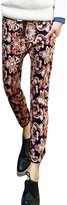 uxcell Men Floral Prints Two Hip Pockets Elastic Waist Cropped Pants