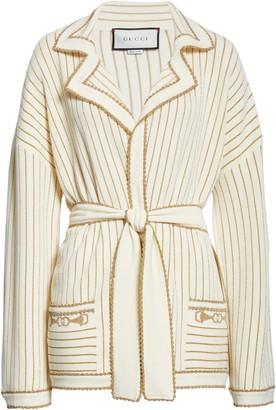 Gucci Metallic Stripe Wool Wrap Sweater Jacket