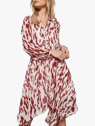 Mint Velvet Pia Trapeze Animal Print Midi Dress, Red