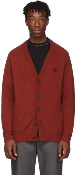 Acne Studios Red Wool Neve Face Cardigan