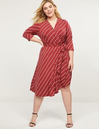Lane Bryant Printed Matte Jersey Faux-Wrap Dress