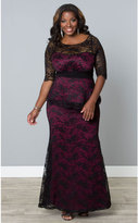 Kiyonna Plus Size Black & Magenta Lace Astoria Peplum Gown