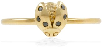 Lee Renee Ladybird Black Diamond Ring/Wings Open - Gold