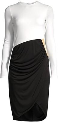 Donna Karan Contrast Draped Front Dress