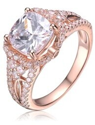 Collette Z Sterling Silver with Rose Gold Plated Clear Cushion with Round Cubic Zirconia Accent Engagement Ring