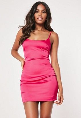 Missguided Petite Hot Pink Stretch Satin Bodycon Mini Dress