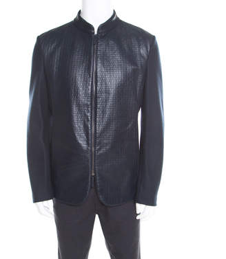 Armani Collezioni Navy Blue Wool Leather Front Panel Detail Zip Front Jacket XXL