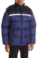 Avia Men's Color-Block Chest Stripe Puffer Jacket with Detachable Hood