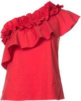 Saloni frill asymmetric blouse - women - Cotton/Spandex/Elastane - 2