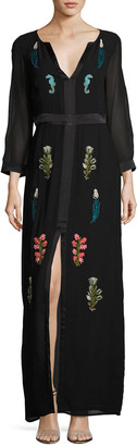 Le Sirenuse Diana Embroidered Silk Gown