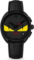 Fendi Momento Bug Black PVD Watch with Leather Strap, 40mm