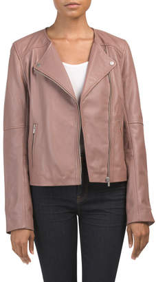 Lamb Leather Collarless Jacket