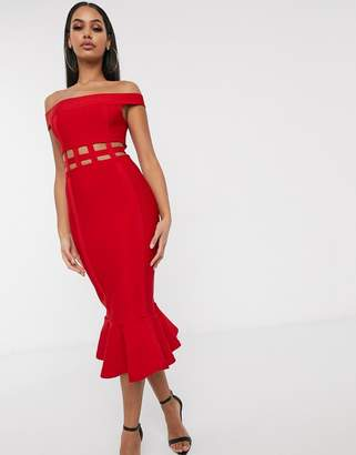 Asos Design DESIGN off shoulder premium bandage cage detail pep hem bodycon midi dress