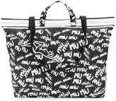 Miu Miu logo graffiti print tote bag