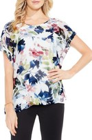 Vince Camuto Women's Garden Expressions Cap Sleeve Crepe Blouse