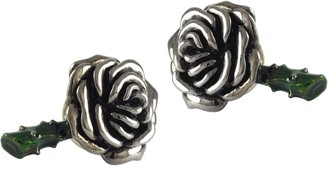 Jan Leslie 2-Piece Sterling Silver Black Ruthenium Rose Cufflinks