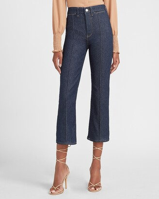 Express High Waisted Perfectly Polished Seamed Wide Leg Jeans