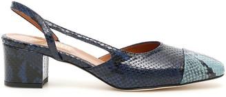 Paris Texas Python Printed Slingback Shoes