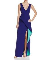 BCBGMAXAZRIA Cutout Ruffle Gown