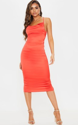 Pure Red Lace Back Stretch Satin Midi Dress