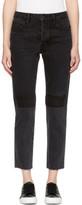 Helmut Lang Black Patchwork High-rise Crop Jeans