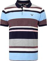 Gant Multi Stripe Oxford Polo Shirt, Evening Blue
