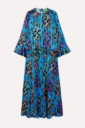 RIANNA + NINA RIANNA NINA - Julia Printed Satin Maxi Dress - Turquoise