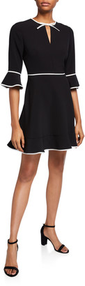 Ted Baker Bell-Sleeve Keyhole Skater Dress with Bow Binding