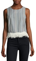 Lucca Couture Linen Fringe Trimmed Top