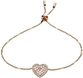 Fossil Vintage Glitz Mother of Pearl and Rose Gold Mosaic Heart Ladies Slider Bracelet
