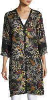 Johnny Was Busch Button-Front Long Cardigan, Black Pattern, Plus Size