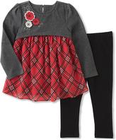 Kids Headquarters Gray & Red Peplum Tunic & Leggings - Infant, Toddler & Girls