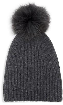 Saks Fifth Avenue Knit Cashmere Faux Fur Pom-Pom Hat