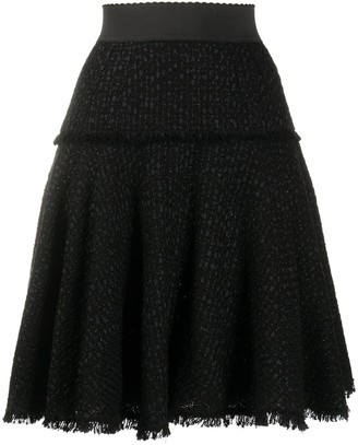 Dolce & Gabbana Tweed Frayed Flared Skirt