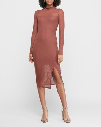 Express Mock Neck Ribbed Midi Sheath Dress