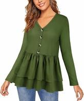 Cyanstyle Women's Casual Long Sleeve Button Loose T Shirt Ruffle Hemline Peplum Blouse Tops Green Small