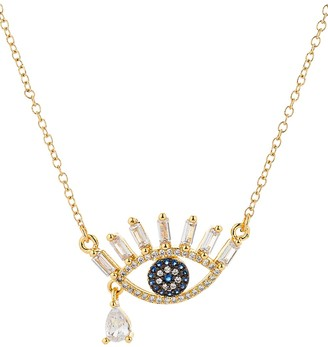 Eye Candy La 14K Goldplated Sterling Silver Crystal Evil Eye Teardrop Pendant Necklace