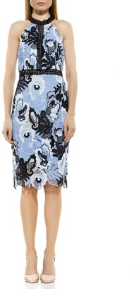 Alexia Admor Celine Mock Neck Lace Midi Dress