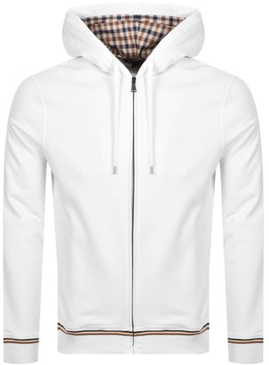 Aquascutum London Silverstone Full Zip Hoodie White