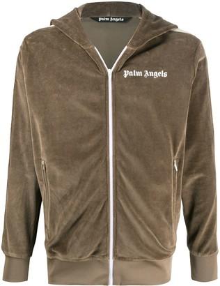 Palm Angels Logo-Print Hooded Track Jacket
