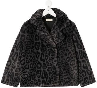Zadig & Voltaire Kids Leopard Print Faux Fur Jacket