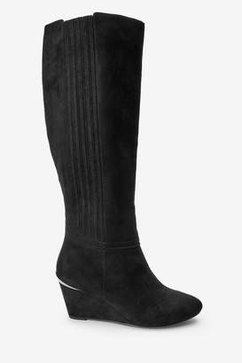 Next Womens Black Extra Wide Fit Forever Comfort Wedge Knee High Boots - Black
